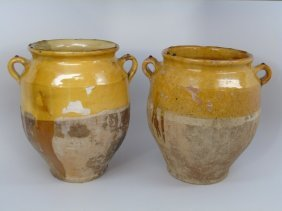 Pair Antique French Pottery Vessels