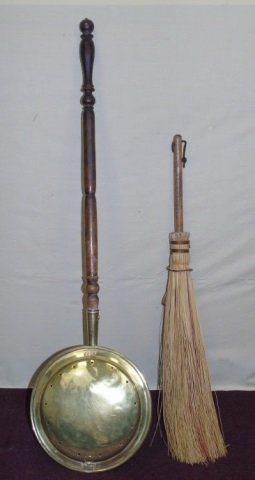 Vintage Brass Bed Warmer & Fire Place Brush Broom