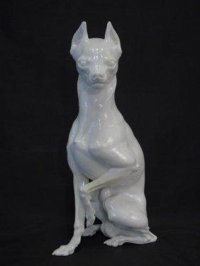 Nymphenburg Blanc De Chine Porcelain Pinscher Dog