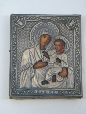 Antique Russian Imperial Silver Icon Tikhvinskaya