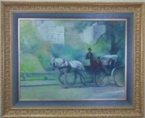 Impressionist Oil Painting Horse Drawn Carriage Ny