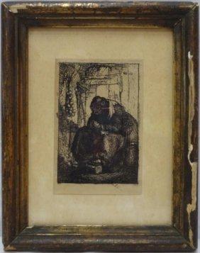 """Rembrandt Etching, """"le Femme Aux Oignons"""""""