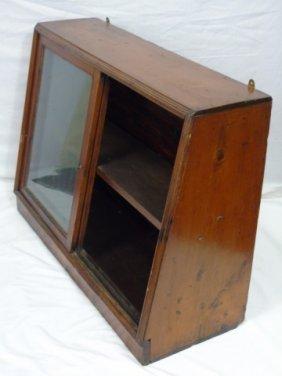Wood Frame W Glass Display Slant Front Case