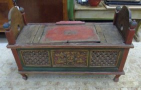 Hand Carved Asian Style Gilt Decorated Bench
