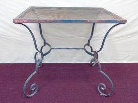 Vintage Green Patina Iron Garden Table