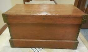 Antique Early American Country Primitive Trunk