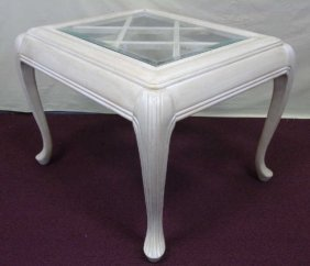 Contemporary End Table Painted Finish Glass Top