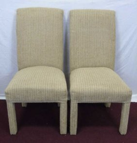 Pair Of Beige Chenille Parson Chairs