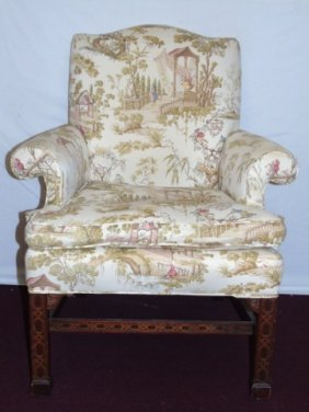 Chinese Chippendale Upholstered Arm Chair