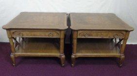 Pair Of Mahogany End Tables W/ Shelf