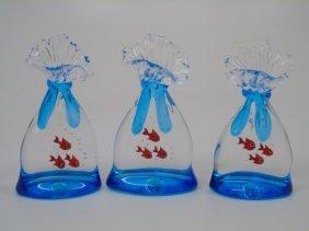 Three Blown Murano Glass Fish Bowl Figurines