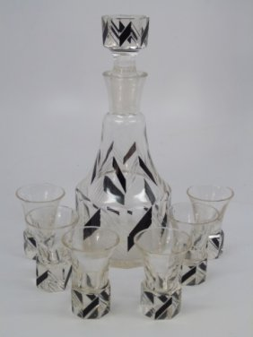 Antique Art Deco Decanter Bottle & Glasses