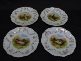 Four Antique German Bavarian Mallard Duck Plates