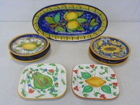 Lot Of 9 Siena Painted Italian Ceramic Dishes