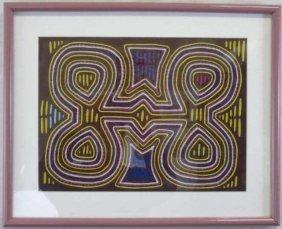 Contemporary Hand Made Tribal Quilt Framed