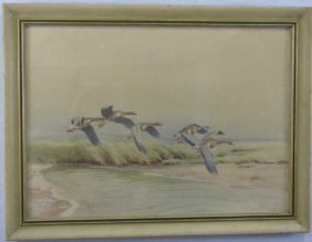 Antique Framed Watercolor Painting Of Geese