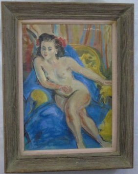 Clanson- Water Color Of A Seated Nude