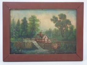 Landscape Oil Painting W/ Water Mill On Board
