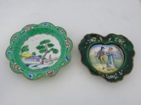 Lot Of 2 Antique French / Chinese Enamel Plates