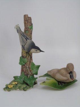 2 Boehm Painted Porcelain Bisque Birds