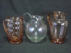 3 Vintage Depression Glass Pitchers