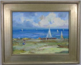 Impressionist Oil Painting Of Beach Scene Sailboat