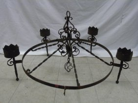 Large Wrought Iron Gothic Style Candle Chandelier