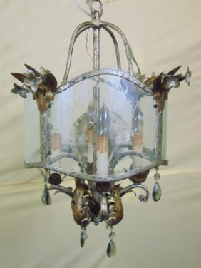 Silver Leaf / Bronzed & Seeded Glass Chandelier