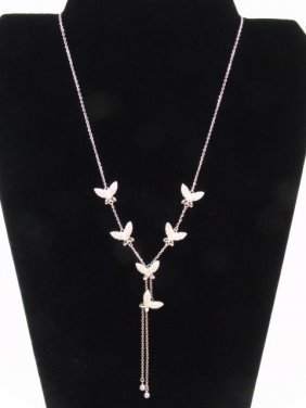 Sterling Silver Delicate Lariat Butterfly Necklace