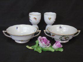 Collection Five Herend Of Hungary Porcelain Pieces