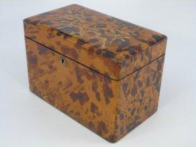 Large Antique English Faux Tortoise Tea Caddy Box