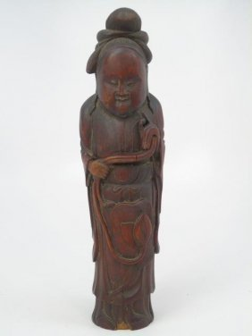 Antique Chinese Carved Bamboo Figure Of A Monk
