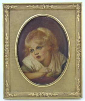 18th C. Oil On Board Painting Of A Lovely Child