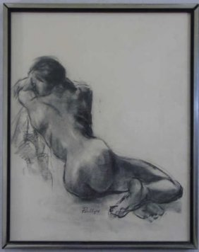 Charcoal Sketch Of Nude Woman Signed Phillips