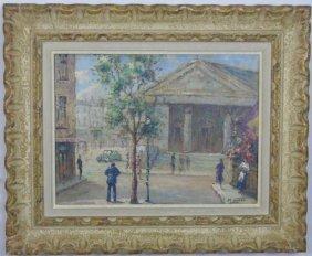 M. Wheat - Framed Oil Painting Paris Street Scene