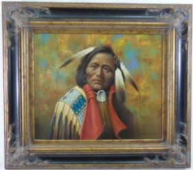Troy Denton - Framed Native American Oil Painting
