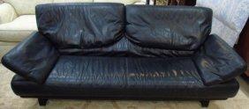 Contemporary Modern Black Leather Sofa