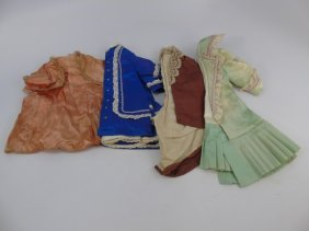 Four Antique Handmade French Bebe Jumeau Outfits