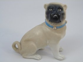 Antique German Pug Bisque Porcelain Statue