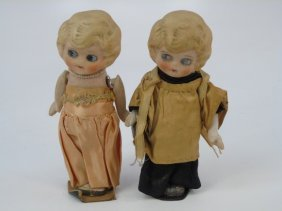 Pair Antique All Bisque Bride & Groom Googly Dolls