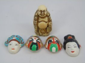 Chinese Carved Bone Buddha & Japanese Masks