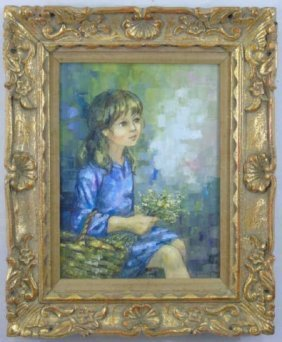 Kanim - Framed Portrait Painting Of A Young Girl