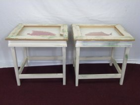 Pair Custom Made Vitrine End Tables W Coral Pieces