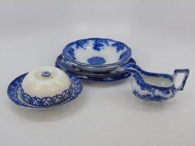 Antique Flow Blue Serving Items - Platters, Etc