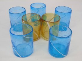 Set Of Contemporary Blown Glass Tumbler Glasses