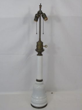Antique French Opaline Glass Table Lamp