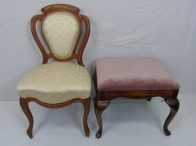Carved Balloon Back Side Chair & Ottoman