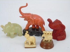 Collection Of Chinese Elephant Miniature Statues
