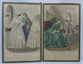 Pair Of Antique French Framed Fashion Engravings