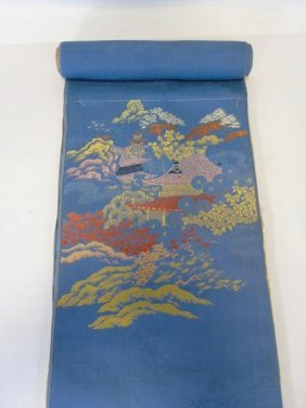 Chinese Embroidered Blue Silk Damask Panel